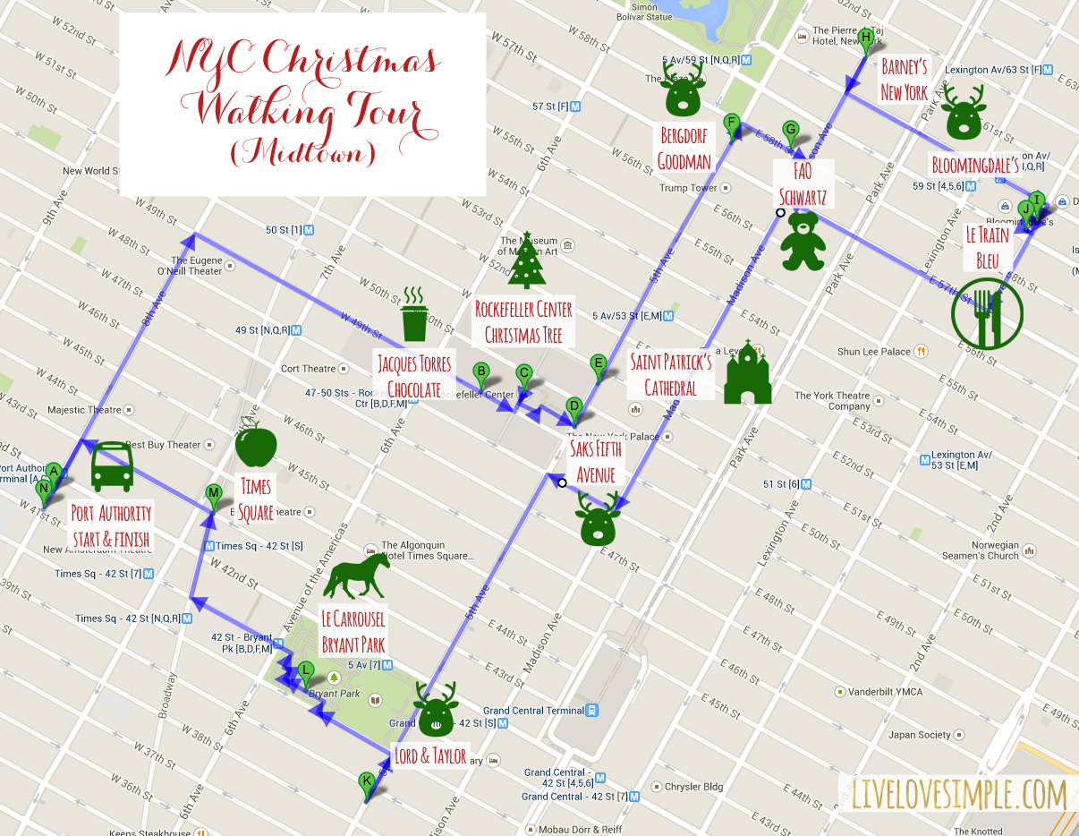 nyc christmas walking tour map