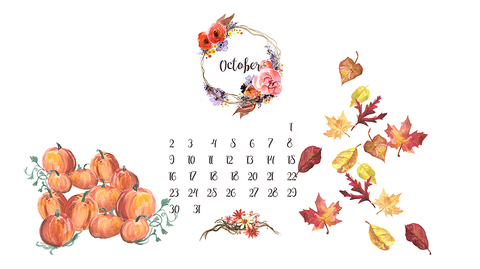 free desktop background calendar /// October 2016