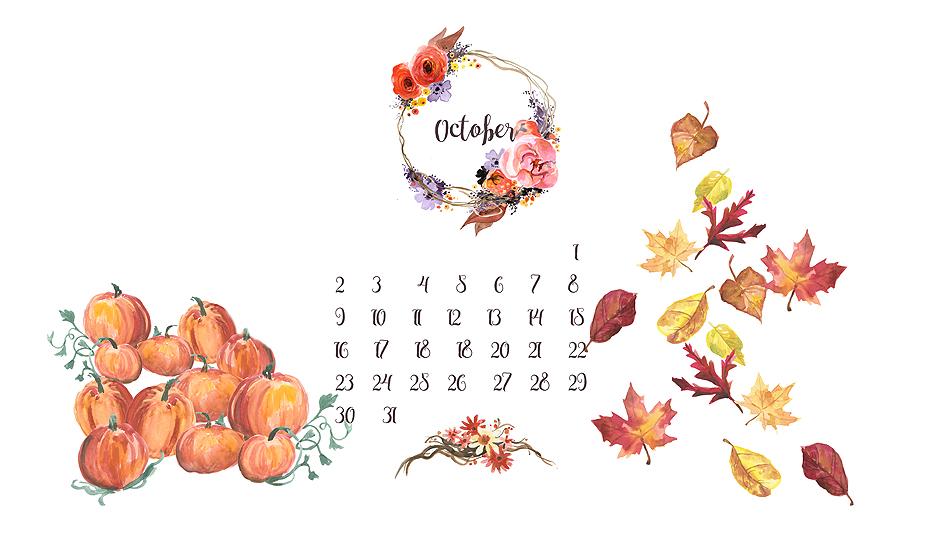 free desktop background calendar /// October 2016