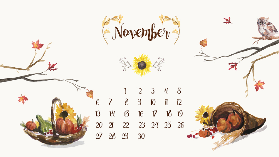 Free Desktop Calendar Background - November