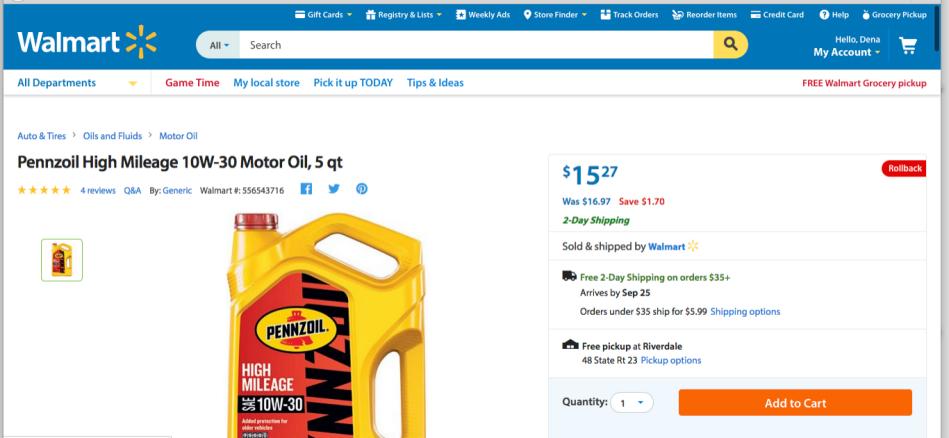 Pennzoil on Walmart.com
